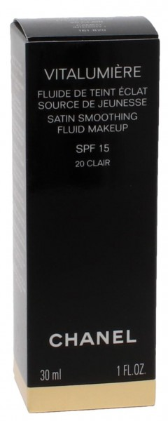Chanel Vitalumiere Satin Smoothing Fluid SPF15 #20 Clair/Cameo Intensity 30 ml